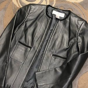 Doncaster Pewter Leather Zip Front Jacket